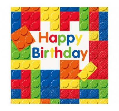 Парти салфетки Строителни блокчета Лего 16 бр в пакет, Building Blocks