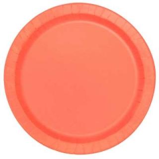 Хартиена парти чинийка корал, 23 см 16 бр. в опаковка