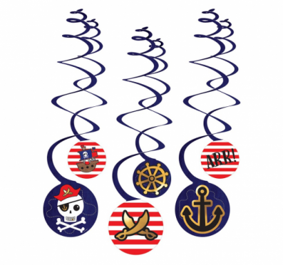 Висяща декорация, гирлянд Пирати, пиратско парти / Pirates, 6бр. диаметър 18 см.  /Gd/