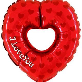 Фолиев балон Сърце с текст Обичам Те, I Love You, височина 100 см