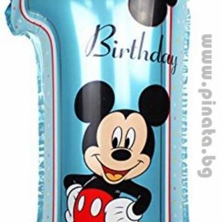 Фолиев балон Мики Маус цифра 1 рожден ден 80 см височина