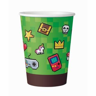 Хартиена парти чашка Геймърски рожден ден Майнкрафт / Game On 200 мл, 6 бр. в опаковка /Gd/