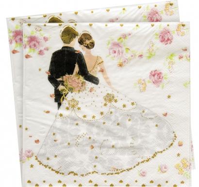 Салфетки Сватбени, Младоженци, 20 бр. в пакет