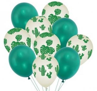 Комплект 10 бр. балони Кактус и Листа  - 4бр металик, 6бр с щампа