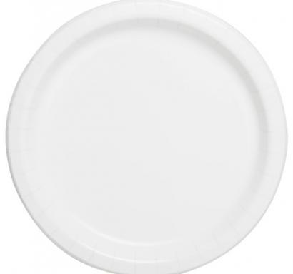 Хартиена парти чинийка бяла, 23 см