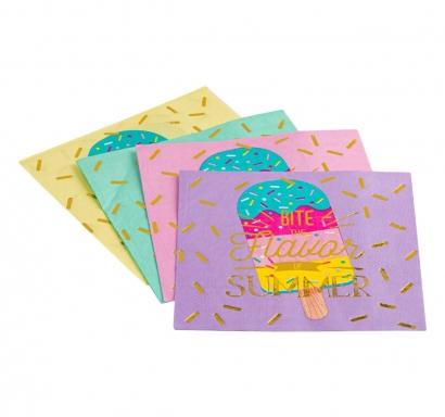 Парти салфетки Сладолед, микс цветове и блестящ златен надпис, 12 бр в пакет