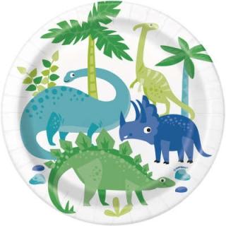 Хартиена парти чинийка Динозаври 18 см / Blue & Green Dinosaur, 8 бр. в опаковка