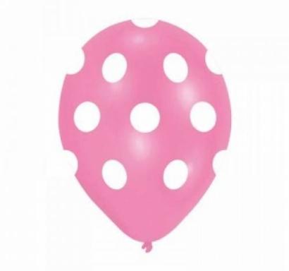 Балон розов на бели точки, диаметър 30 см, 5 бр. в пакет