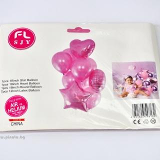 Комплект 10 бр. розови балони  - 3бр фолио, 7бр пастел