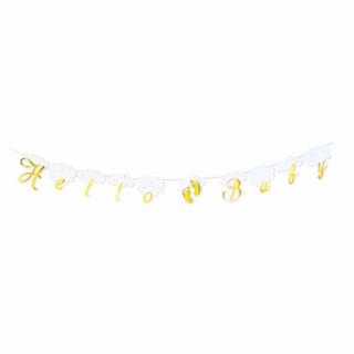 Банер гирлянд за декорация Добре дошло Бебе / Hello Baby, 2,5 м дължина с блестящи златни фолиеви букви