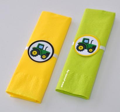 Парти салфетки Трактор, 33х33 см, 5 бр. пакет