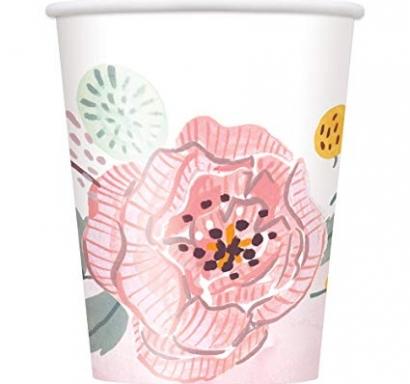 Хартиена парти чашка Флорални рисувани цветя 250 мл, Painted Floral