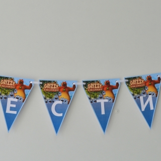 Персонализиран банер Честит Рожден Ден Гризли и лемингите, с включени 2 бр. фигури бонус