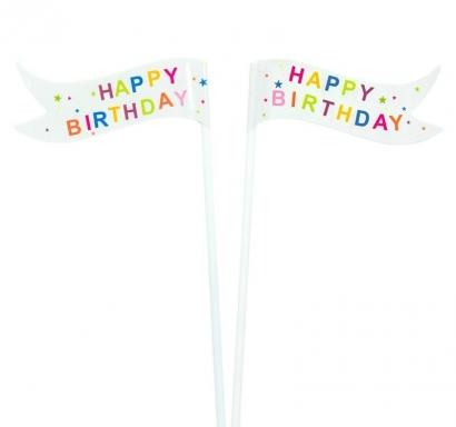 Парти знаменца Честит Рожден Ден / Happy Birthday, 15 см 10 бр. в опаковка