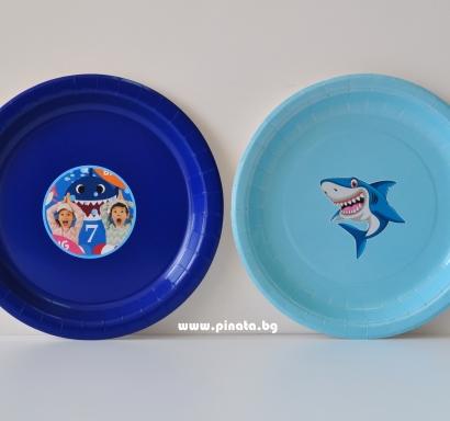 Персонализирана хартиена парти чинийка Риби Акули Бейби Шарк, 5бр. пакет