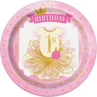 Хартиена парти чинийка Първи рожден ден в розово и златно 23 см / First Birthday