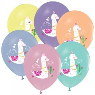 Балон с печат Лама / Lama, диаметър 30 см, 5 бр. в пакет, различни цветове