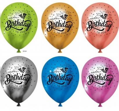 К-кт хром балони с печат Happy Birthday, 30 см. диаметър, 5 бр. в опаковка микс цветове