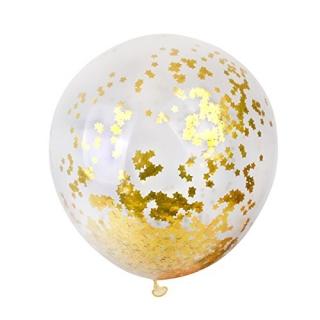 Прозрачен балон със златни конфети звезди и лента за връзване , 46 см диаметър