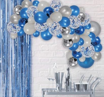 Комплект за украса с балони тип арка, 70 бр. балони в бяло, синьо и сребърно