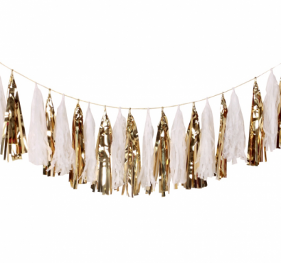Гирлянд от 20 бр. тасели, лъскави златни и бели цветове, 36х250см /Gd/