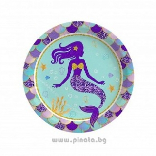 Хартиена парти чинийка Русалка 23 см, / Shining Mermaid