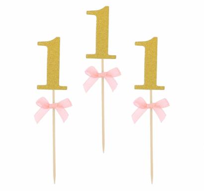 Топер за мъфини Първи рожден ден бебе момиче, 10 бр. в опаковка брокат с розова панделка /GD/