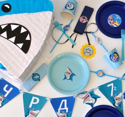 Промо тематичен парти пакет х10 Риби Акули / Бейби Шарк