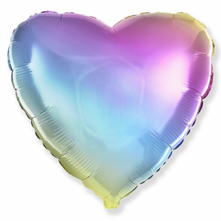 Фолиев балон гигантско Сърце в преливащи пастелни цветове тип дъга, 80 см Flexmetal, /Gd/