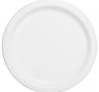 Хартиена парти чинийка бяла, 18 см