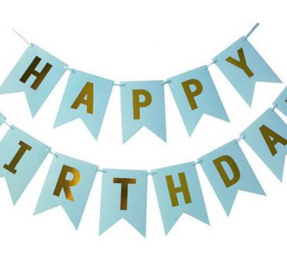 Банер комплект Happy Birthday / Честит Рожден Ден, син със златни букви