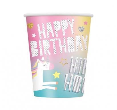 Хартиена парти чашка Еднорог 250 мл, Unicorn, 8бр. пакет