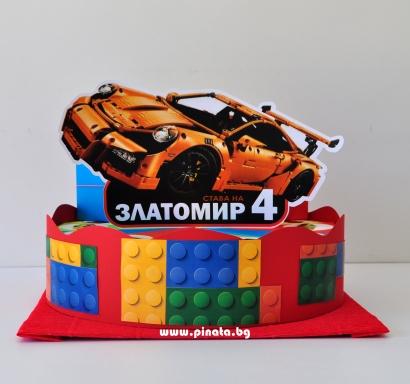 Хартиена торта с тематична декорация и персонализация Лего Коли
