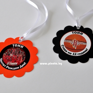 Персонализиран парти медальон Баскетбол, Хюстън Рокетс, 5бр. пакет