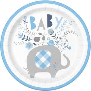 Хартиена парти чинийка , Бебе, момче, слонче с флорални елементи /  Blue Floral Elephant, 8 бр. в опаковка