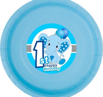Хартиена парти чинийка  Слонче Първи рожден ден момче цвят син / First Birthday Elephant, 23 см. диаметър, 8 бр. в опаковка