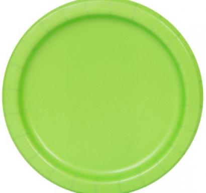 Хартиена парти чинийка зелена лайм, 23 см, 16 бр. в опаковка