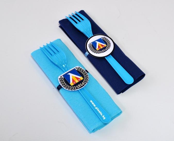 Парти комплект салфетка и виличка Левски футбол 33х33 см