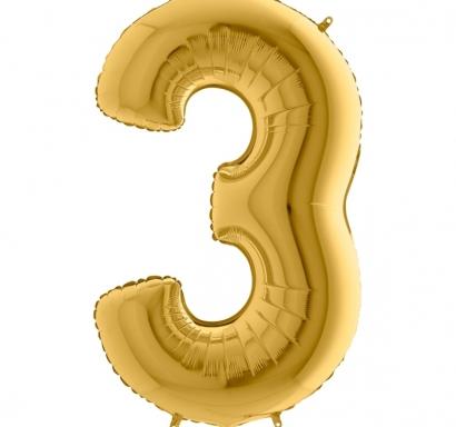 Фолиен балон цифра 3 цвят злато - 102 см височина /40
