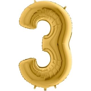 """Фолиен балон цифра 3 цвят злато - 102 см височина /40""""/"""