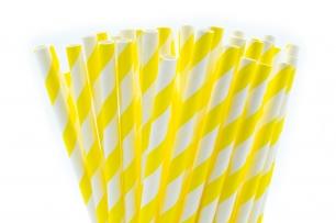 Сламки в жълто и бяло картон, 10 бр опаковка /Gd/