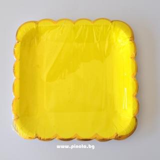 Хартиена парти чинийка жълта със златен кант, 23х23см 10 бр. в опаковка