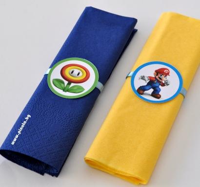 Парти салфетки Супер Марио, 33х33 см, 5 бр. пакет