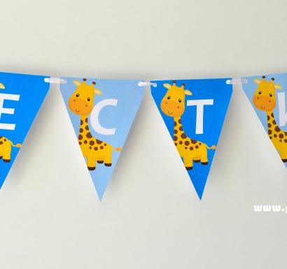 Персонализиран банер Честит Рожден Ден Жираф