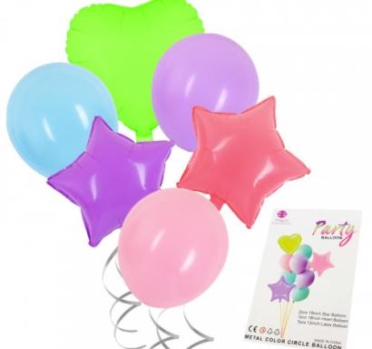 Комплект фолиеви балони Звезда и Сърце и латексови цвят макарон микс цветове, 10 броя