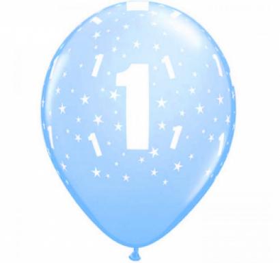 Комплект 6 бр. сини балони с печат цифра 1 и звезди /Първи рожден ден момче/ /Gd/