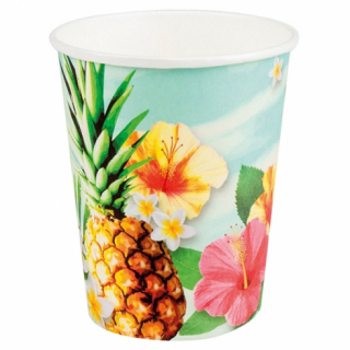 Хартиена парти чашка Хавайско парти / Hawaiian Paradise  200 мл, 6 бр. в опаковка /Gd/