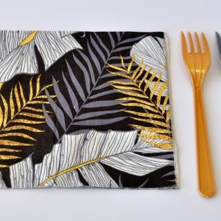 Парти салфетки Листа златни и сребърни 33х33 см