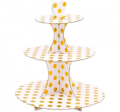 Стойка за мъфини три нива, бяла със златни блестящи точки