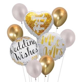 Комплект 9 бр. фолиеви и латексови балони с печат Честита Сватба, Weding Wishes, Mr and Mrs